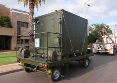 Deployment of the shelters on a vehicle (truck, trailer, HMMWV etc.)